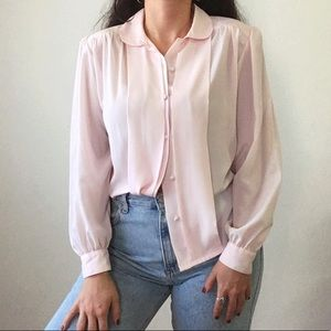 Vintage Soft Pink Secretary ELLE Blouse
